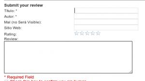 Wordpress enviar Review