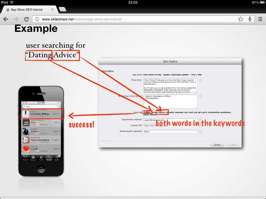 usar keywords para posicionar en ASO